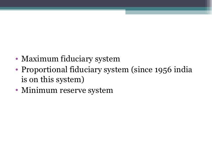minimum reserve system in india