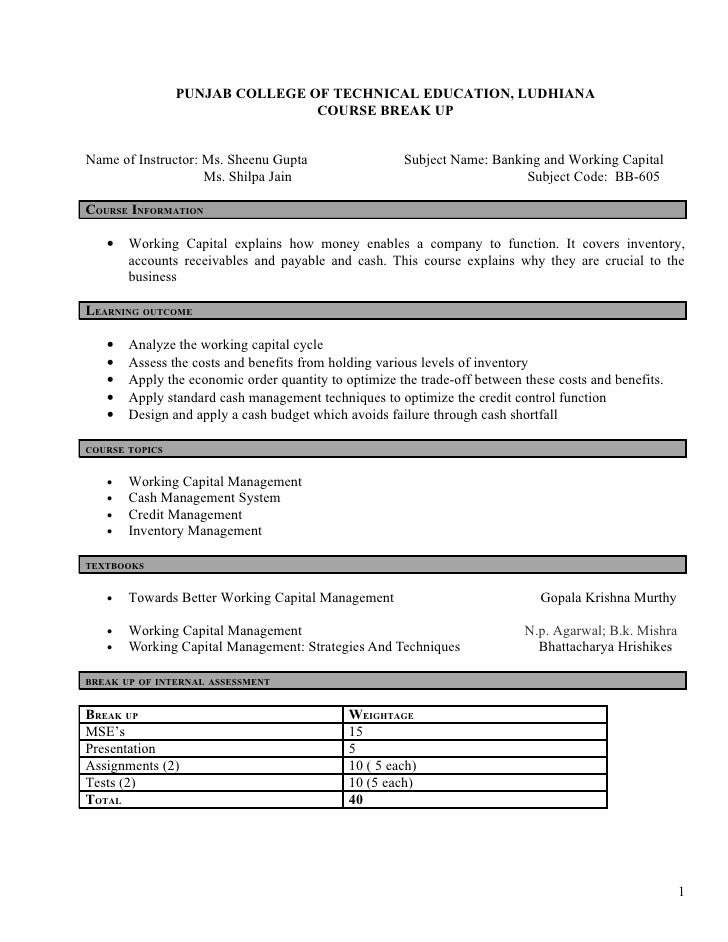 working cash organization course syllabus