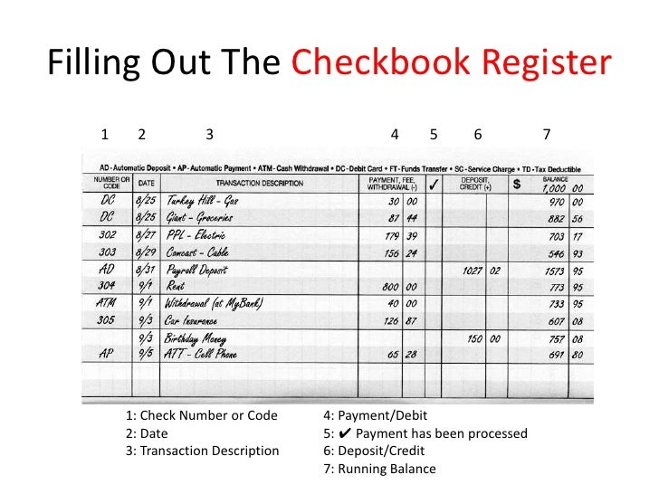 online checking account register