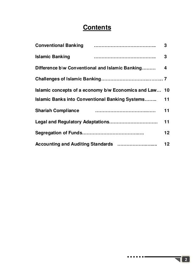 difference between islamic banking and commercial banking features  2 2 contents conventional banking