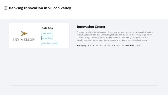 Palo Alto Banking Innovation in Silicon Valley Innovation Center The opening of the facility is part of the company's plan...