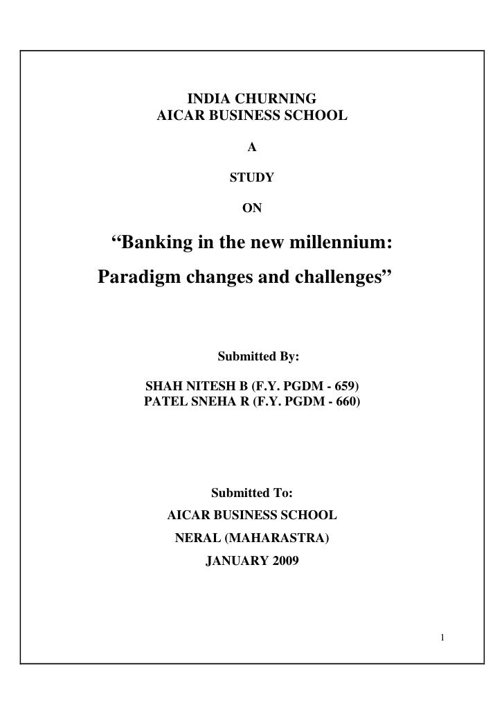 """INDIA CHURNING       AICAR BUSINESS SCHOOL                     A                   STUDY                     ON   """"Banking..."""