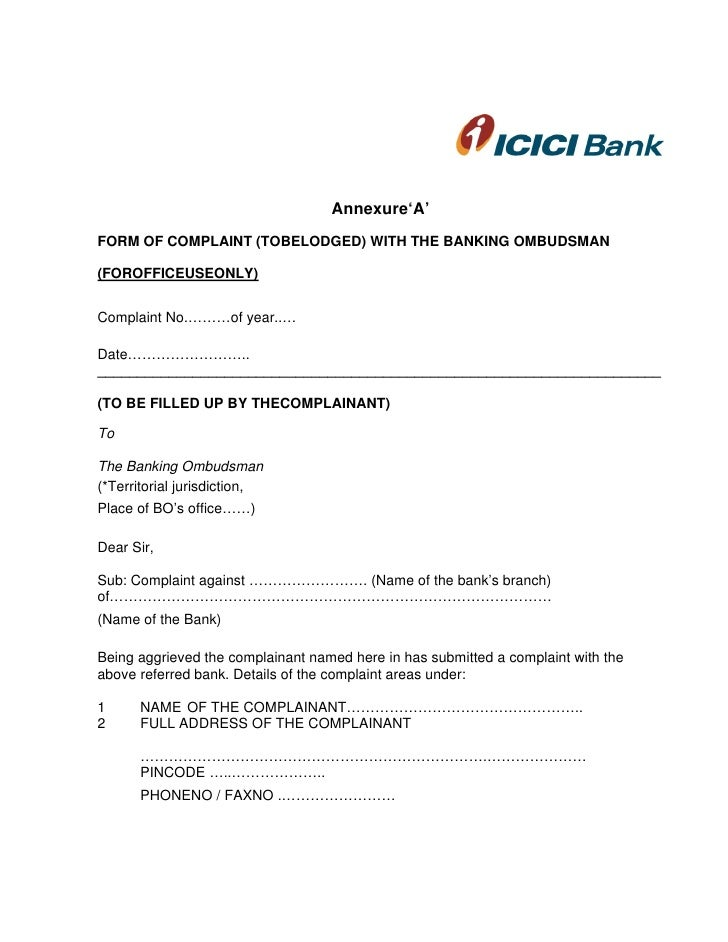 Sample Banking Ombudsman Complaint Form  Resume Template Sample