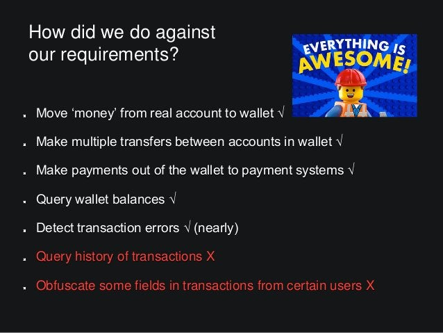 How did we do against our requirements? Move 'money' from real account to wallet √ Make multiple transfers between account...