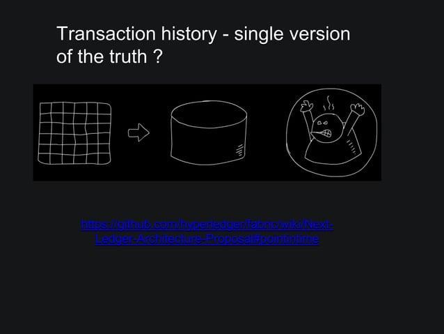 Transaction history - single version of the truth ? https://github.com/hyperledger/fabric/wiki/Next- Ledger-Architecture-P...