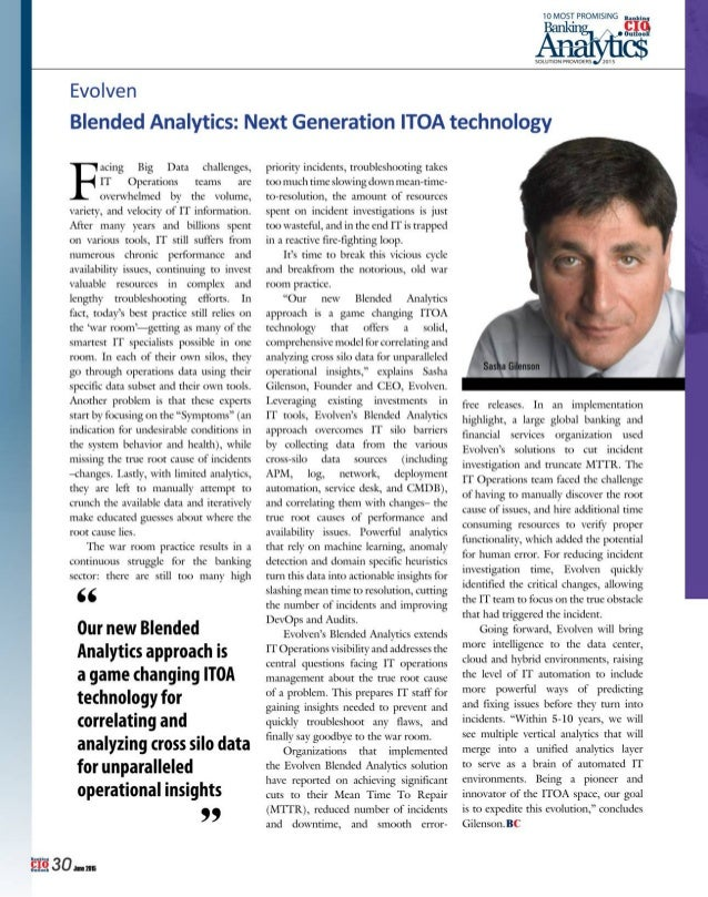 """'c'""""i""""6  ouuon  Evolven       10 MOST PROMISING . ,.. .,. ,'. .); ,!  Blended Analytics:  Next Generation ITOA technology ..."""
