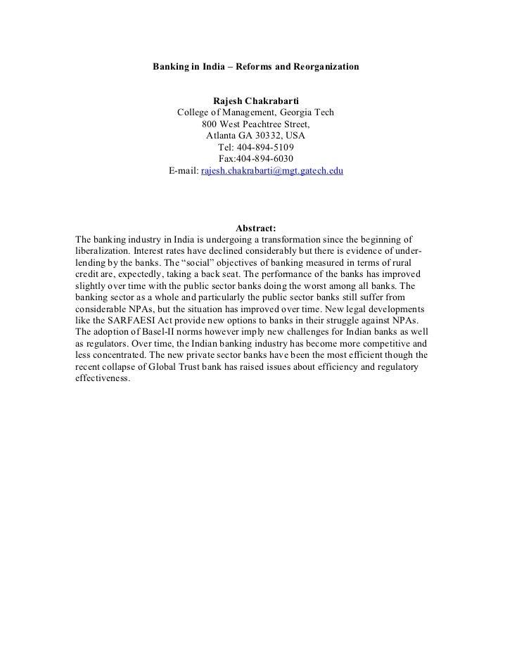 Banking in India – Reforms and Reorganization                                  Rajesh Chakrabarti                         ...