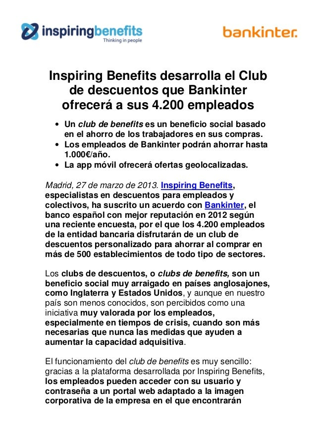 Inspiring Benefits desarrolla el Club de descuentos que Bankinter ofrecerá a sus 4.200 empleados • Un club de benefits es ...