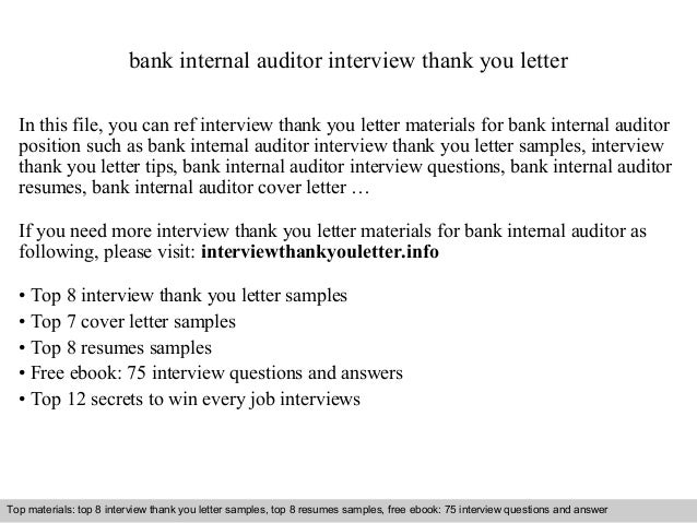Bank internal auditor for Internal interview thank you email template