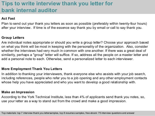 Bank internal auditor 3 tips to write interview thank you letter for bank internal expocarfo Choice Image