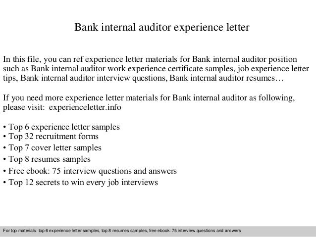 Bank Internal Auditor Experience Letter