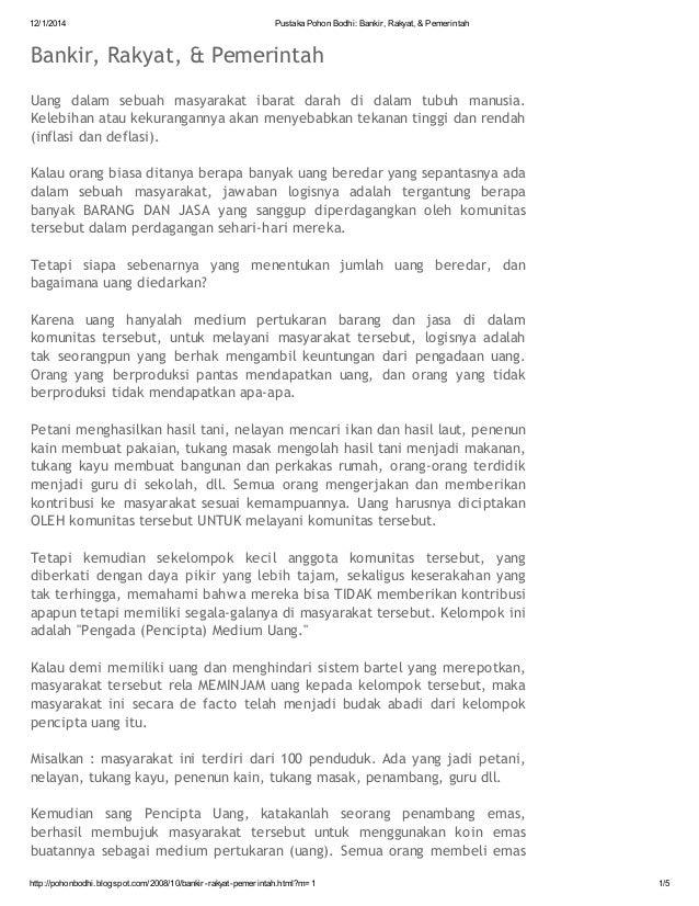 12/1/2014  Pustaka Pohon Bodhi: Bankir, Rakyat, & Pemerintah  Bankir, Rakyat, & Pemerintah Uang dalam sebuah masyarakat ib...