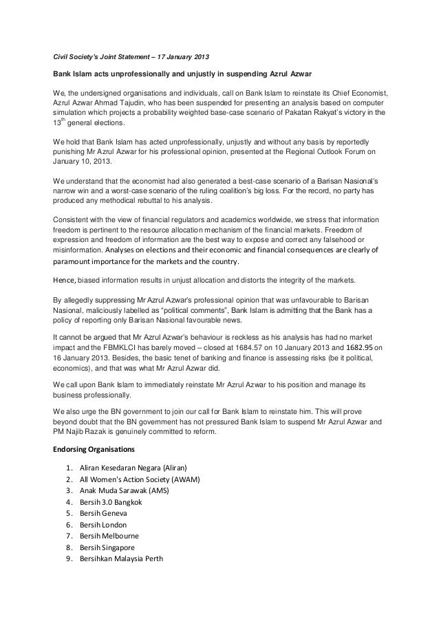 Civil Society's Joint Statement – 17 January 2013Bank Islam acts unprofessionally and unjustly in suspending Azrul AzwarWe...