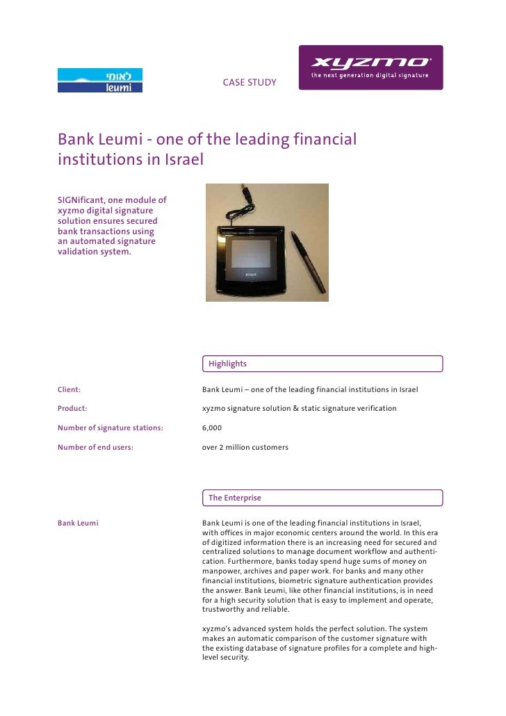 INFO                                  CASE STUDY     Bank Leumi - one of the leading financial institutions in Israel  SIG...
