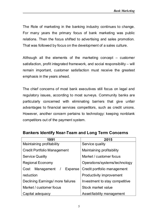 marketing plan for banking industry