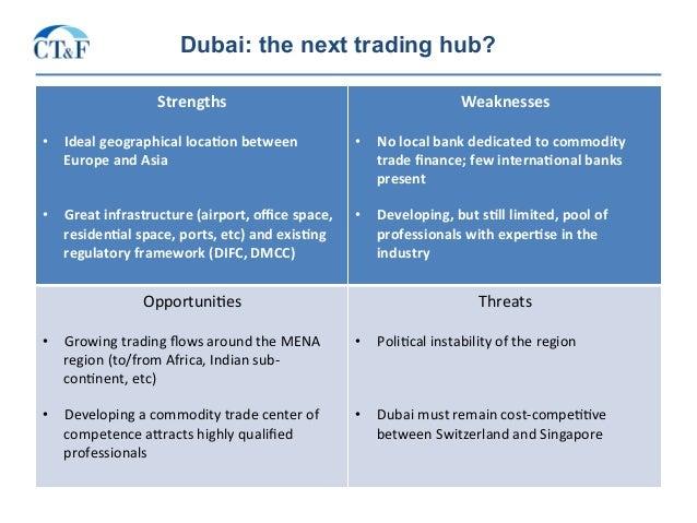 Dubai: the next trading hub? Strengths  • Idealgeographicalloca2onbetween EuropeandAsia • Greatinfrastructure...