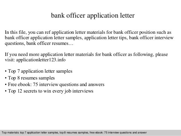 Bank Officer Application Letter