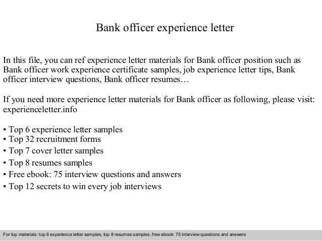 bank officer experience letter in this file you can ref experience letter materials for bank experience letter sample
