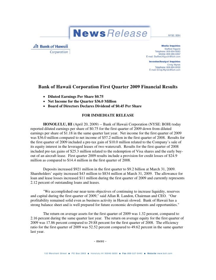 Bank of Hawaii Corporation First Quarter 2009 Financial Results         • Diluted Earnings Per Share $0.75         • Net I...
