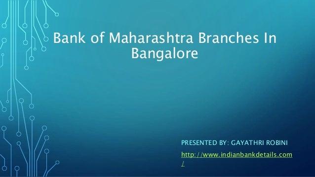 bank of maharashtra branches in bangalore jayanagar