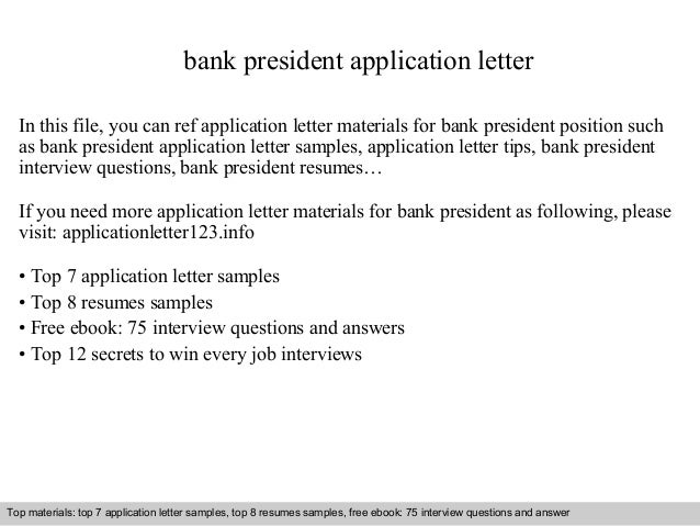 Bank President Application Letter