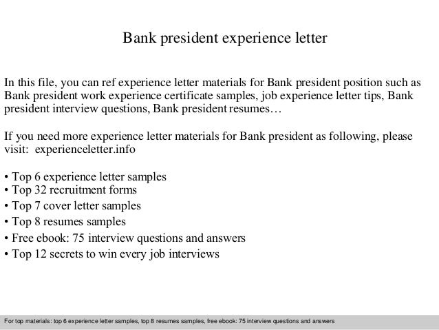 Bank President Experience Letter