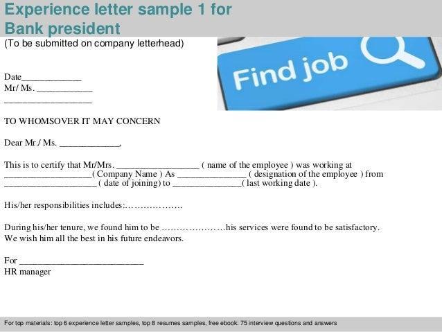 2 experience letter sample 1 for bank president
