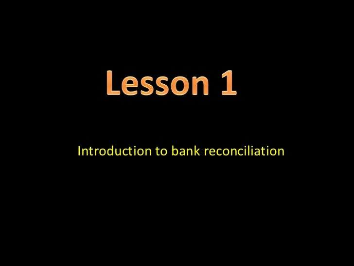 Introduction to bank reconciliation