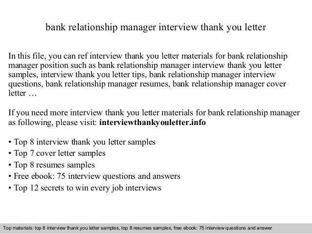 Bank relationship manager