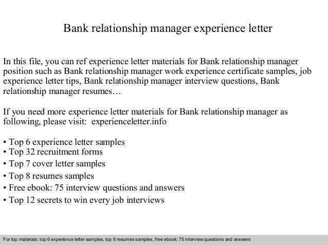 Bank relationship manager experience letter