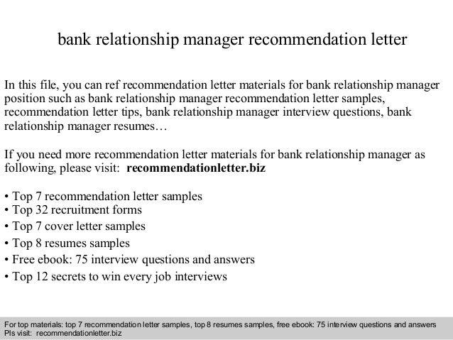 Bank relationship manager recommendation letter