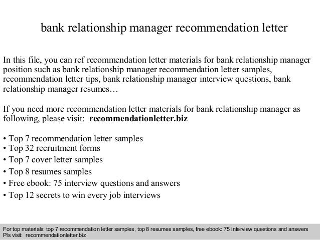 Interview Questions And Answers U2013 Free Download/ Pdf And Ppt File Bank  Relationship Manager Recommendation ...