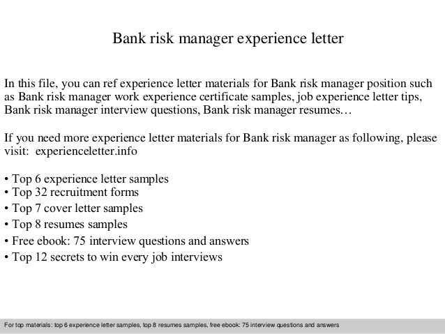 Bank risk manager experience letter