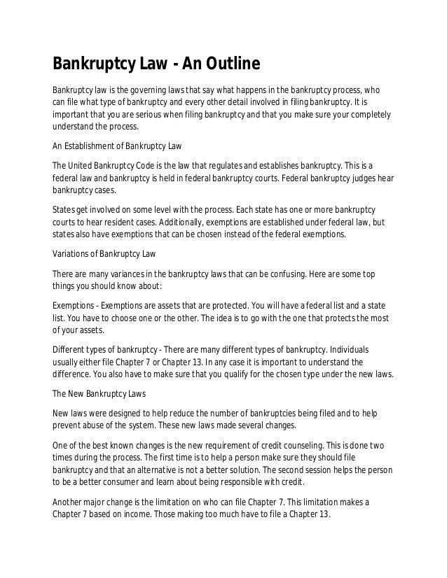 bankruptcy law \u2013 an outline