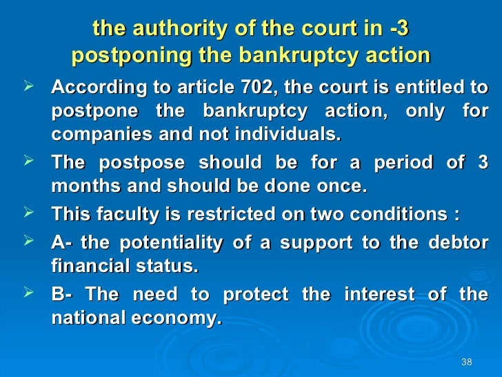 bankruptcy law article The bankruptcy clause of the constitution was one of congress's several delegated powers in article i, section 8, that were designed to encourage the development of a commercial republic and to temper the excesses of pro-debtor state legislation that proliferated under the articles of confederation.