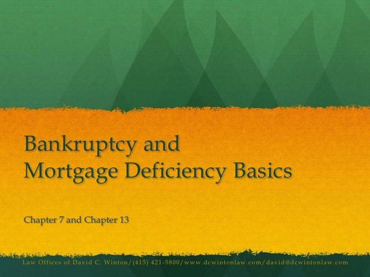 Bankruptcy and Mortgage Deficiency Basics<br />Chapter 7 and Chapter 13<br />