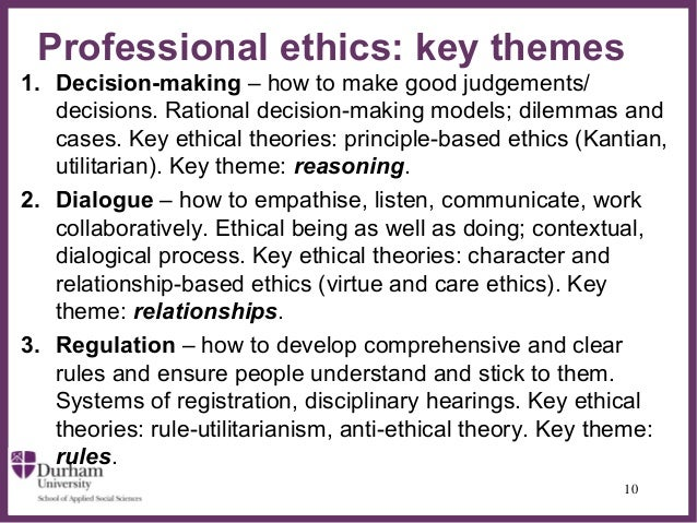 sarah banks ethics professionalism and youth work professional ethics is about these mattersin a work context 9 10