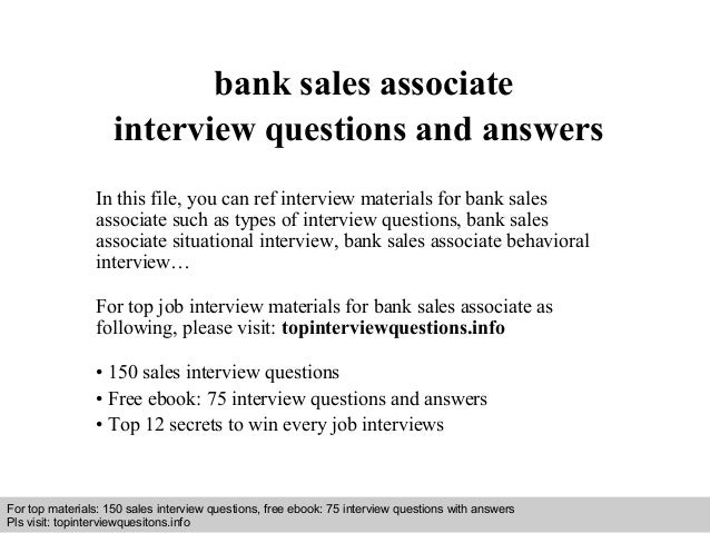 Bank sales associate interview questions and answers