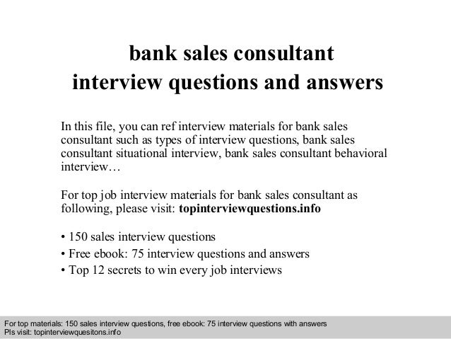Bank sales consultant interview questions and answers