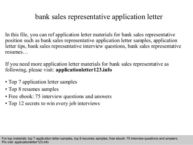 Bank Sales Representative Application Letter