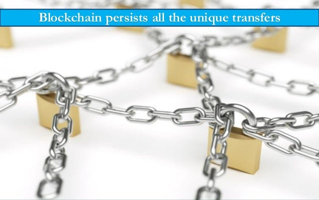 Blockchain persists all the unique transfers