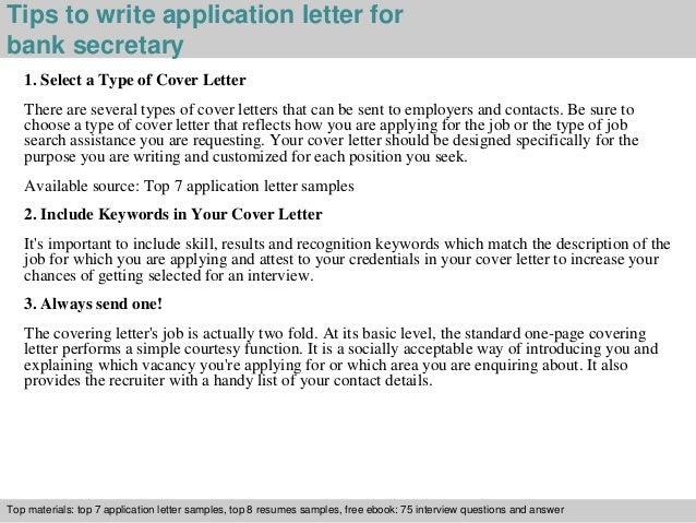 Bank secretary application letter