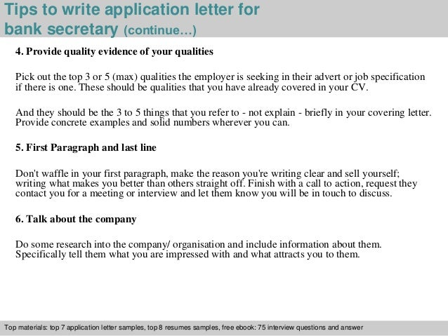 Bank secretary application letter 4 tips to write application letter for bank secretary altavistaventures Choice Image