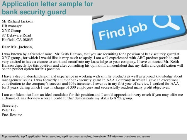Bank security guard application letter
