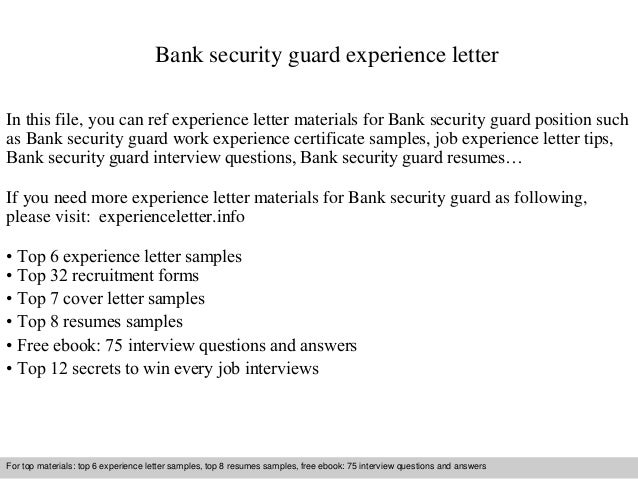 Bank security guard experience letter 1 638gcb1409570158 bank security guard experience letter in this file you can ref experience letter materials for experience letter sample yadclub Choice Image