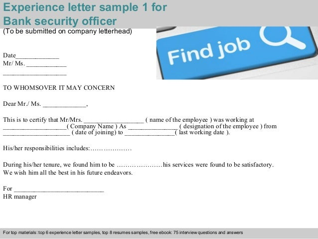 experience letter sample 1 for bank security officer