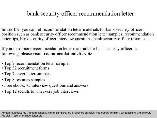 Bank security officer recommendation letter interview questions and answers free download pdf and ppt file bank security officer recommendation expocarfo Choice Image
