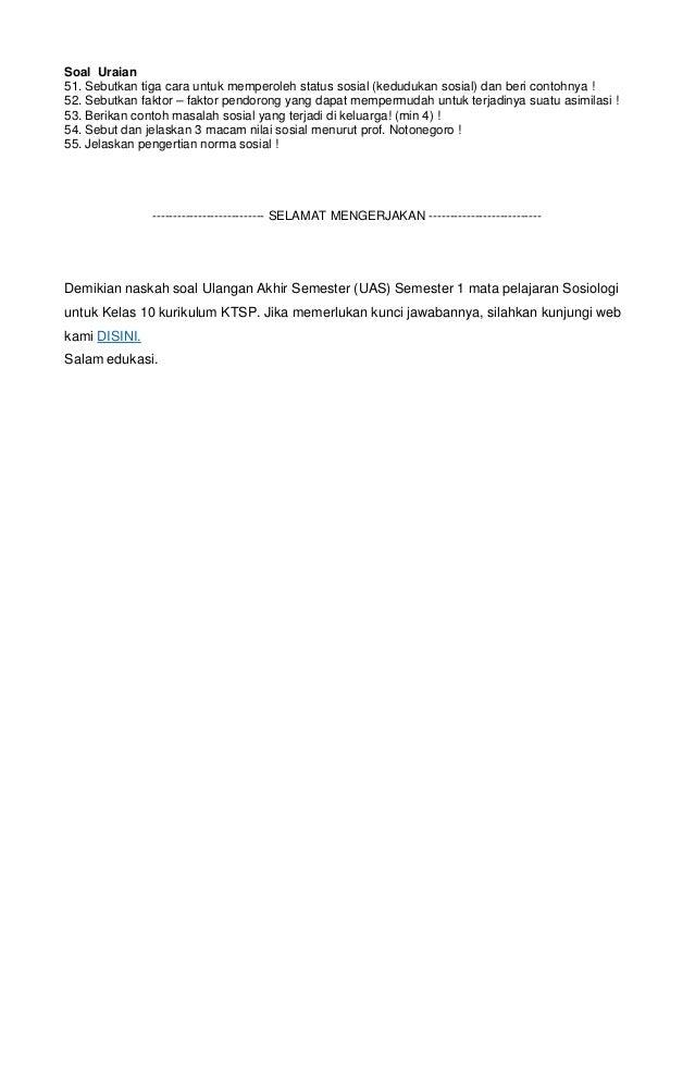 Soal Uas Sosiologi Kelas X Amp Kunci Jawaban 2014