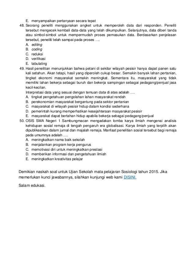 Soal Ujian Sekolah Sosiologi Dan Kunci Jawaban 2015
