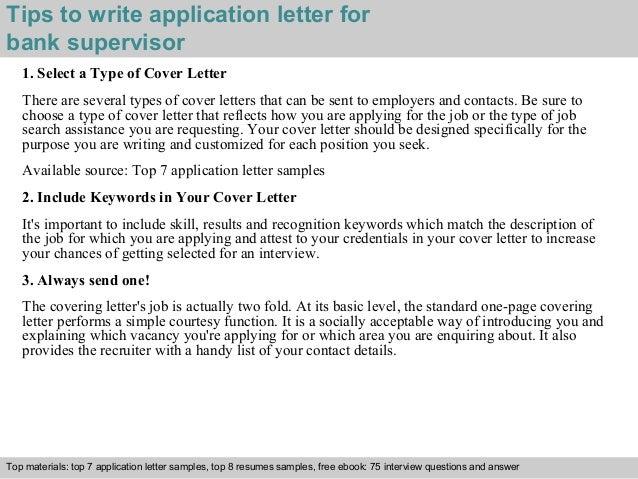 Bank supervisor application letter